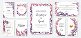 Fototapeta Kwiaty - Wedding invitation frame set; flowers, leaves, watercolor, isolated on white. Sketched wreath, floral and herbs garland with green, greenery color. Handdrawn Vector Watercolour style, nature art.