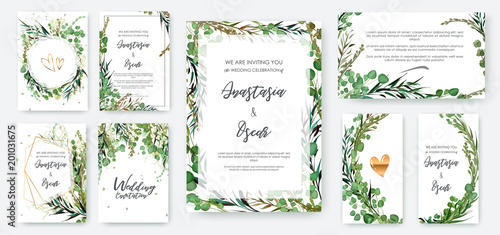 Vászonkép Wedding invitation frame set; flowers, leaves, watercolor, isolated on white
