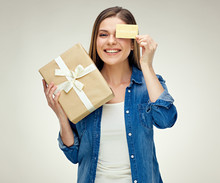 Smiling Woman Holding Credit C...