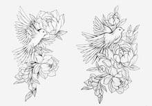 Sketch Of A Bird In Flowers On...