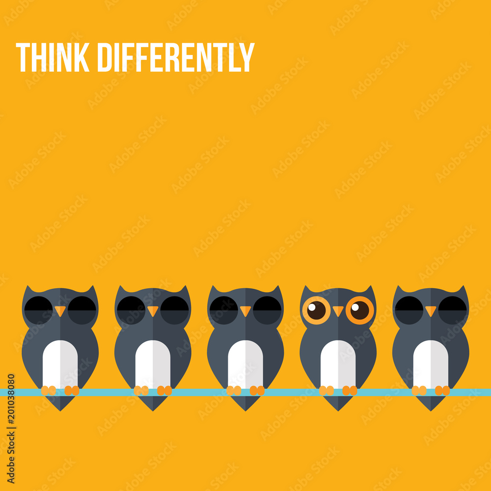 Fototapeta Think differently - Being different, standing out from the crowd -The graphic of owl also represents the concept of individuality , confidence, uniqueness, innovation, creativity.