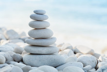 Stack Of White Pebbles Stone A...
