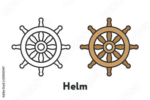 Controlling Boat Helm Rudder Wheel Minimal Color Flat Line Outline