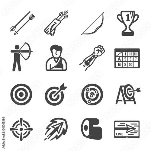 Photo archery icon set