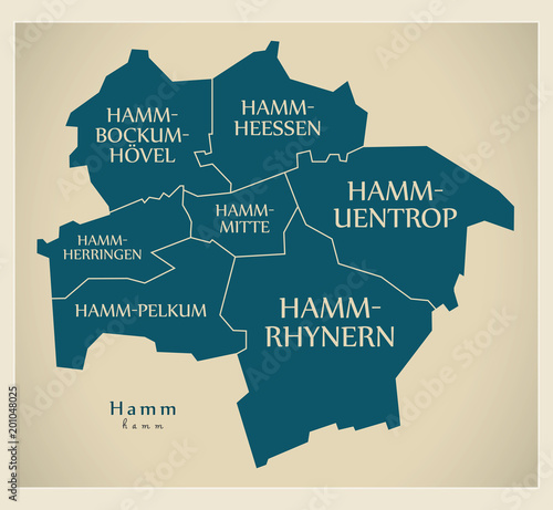 Fototapeta Modern City Map - Hamm city of Germany with boroughs and titles DE