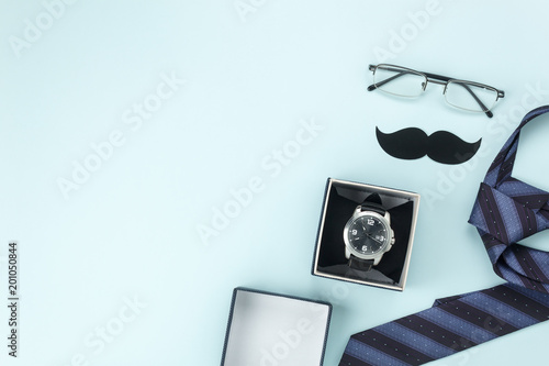 Fotografía  Table top view Happy Fathers day holiday background concept