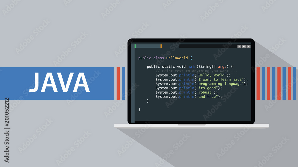 Fototapety, obrazy: java programming language with laptop and code script on screen vector illustration