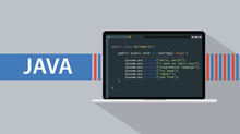 Java Programming Language With Laptop And Code Script On Screen Vector Illustration