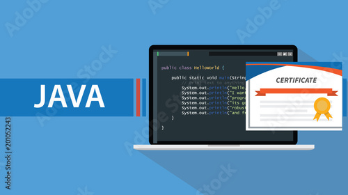 Fototapeta java programming language certificate with laptop and code script on screen vector illustration obraz
