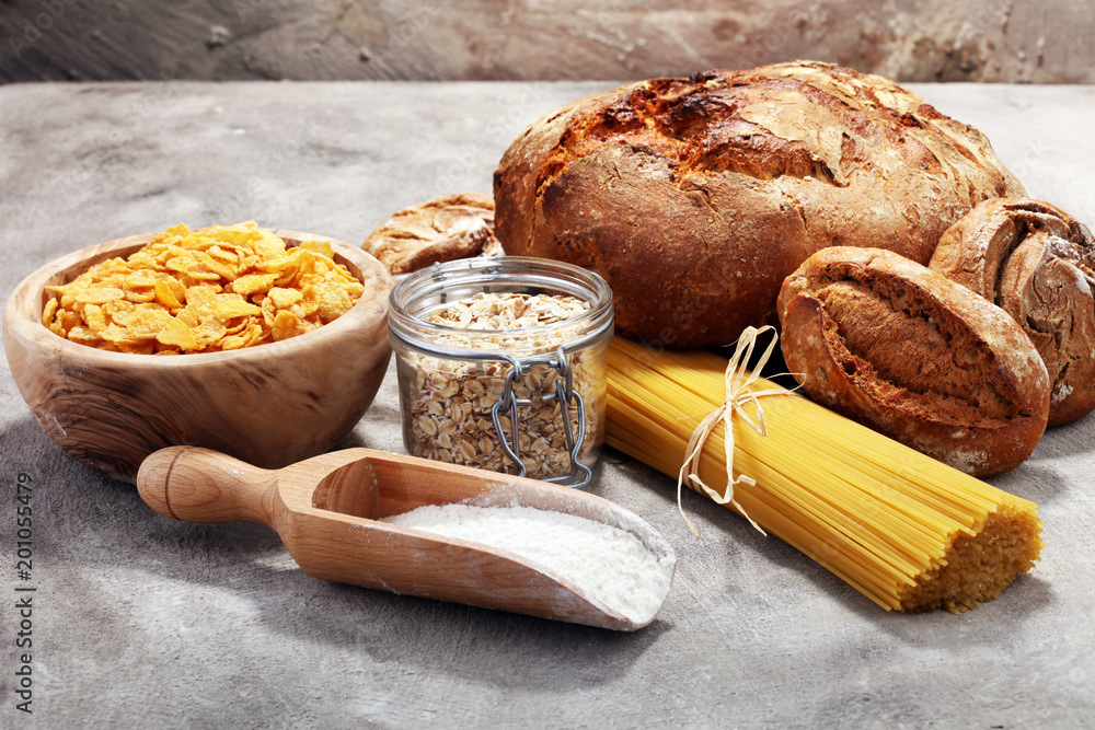 Fototapeta whole grain products with complex carbohydrates