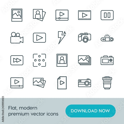 Modern Simple Set of video, photos Vector outline Icons