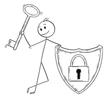 Cartoon Stick Man Drawing Conceptual Illustration Of Businessman Holding Locked Shield With Lock Or Padlock Image And Holding Key. Business Concept Of Internet And Network Security And Password