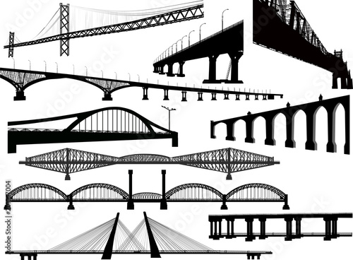 ten long bridges collection isolated on white