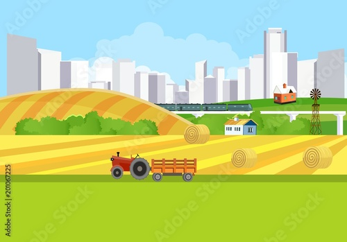 Tuinposter Lime groen Countryside view vector countryside landscape background, city buildings, Agriculture theme, village.