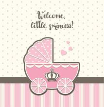Baby Shower, Pink Vintage Stro...