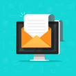 Electronic document email on computer vector illustration, flat cartoon long big paper doc on e-mail envelope pc display, idea of online documentation, newsletter message or electronic mail or letter