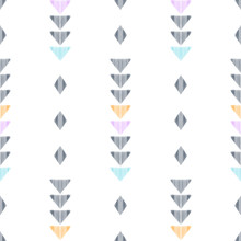 Ethnic Seamless Pattern For Modern Home Decor. Tribal Graphic Design. Textured Geometric Shape In A Black, Blue, Pink, Orange And White Palette.