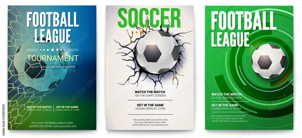 Zestaw plakatów z turnieju piłki nożnej lub ligi piłki nożnej. Projekt graficzny z piłką. Projekt banera na imprezy sportowe. Szablon reklamować dla mistrzostwa piłka nożna lub futbol, 3D ilustracja. <span>plik: #201074830 | autor: eriksvoboda</span>
