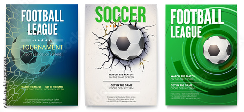 Set of posters of football tournament or soccer league Poster Mural XXL