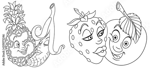 Coloring Pages Cartoon Fruits In Love Lovely Kiss
