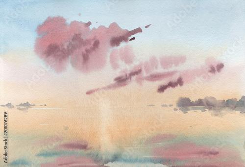 akwareli-ilustracja-niebo-przy-wschodem-slonca-jezioro-panorama-morza