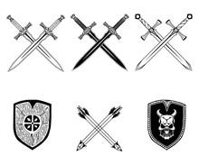 Shield Sword Black White Set Illustration Isolated