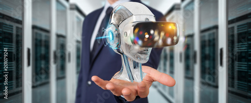 Poster Wintersporten Businessman using virtual reality and artificial intelligence 3D rendering