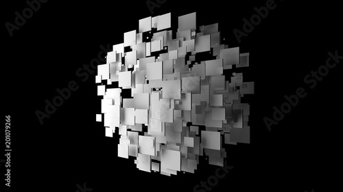 Cuadros en Lienzo Abstract cubes shape a sphere on black background, 3d illustration