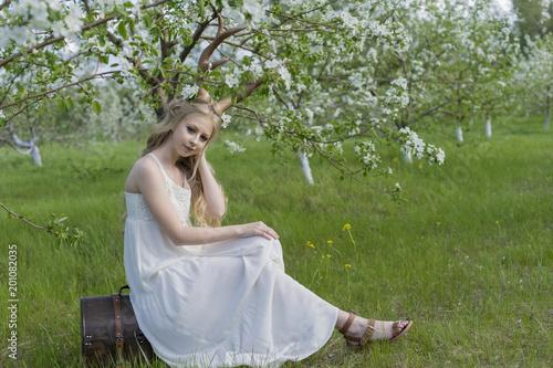Teen beautiful blonde girl wearing white dress with deer horns on teen beautiful blonde girl wearing white dress with deer horns on her head and white flowers mightylinksfo