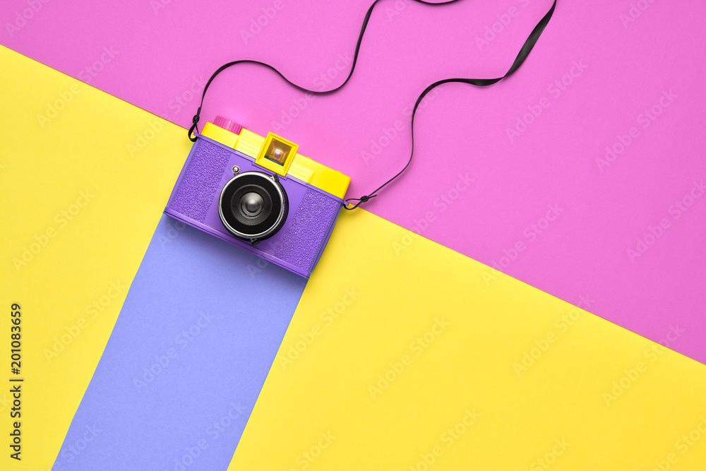 Fashion Film Camera. Pop Art Style. Minimal
