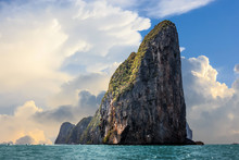 The Cliff Of Phi Phi Leh With Big Clouds Over A Blue Sky, Phi Phi Island, Thailand