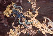 Wall Paintings Depicting The Myth Of Ramakien In The Wat Phra Kaew Palace, Also Known As The Emerald Buddha Temple. Bangkok, Thailand.
