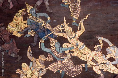 Fotografie, Obraz Wall paintings depicting the myth of Ramakien in the Wat Phra Kaew Palace, also known as the Emerald Buddha Temple