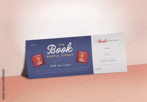 raffle ticket layout with book illustrations buy this stock