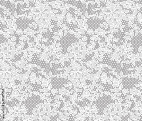 Valokuvatapetti seamless floral lace pattern, vector illustration