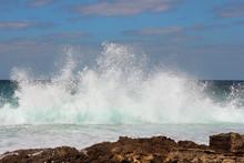 Sea Waves Crashing Against The Rocks, Tantura Nature Reserve, Northern Israel