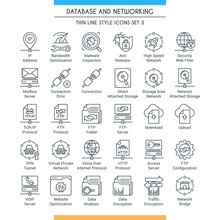 Database And Networking Icons Set. Modern Icons On Theme Storage, Analysis, Organization, Synchronization And Data Transfer. Thin Line Design Icons Collection. Vector Illustration