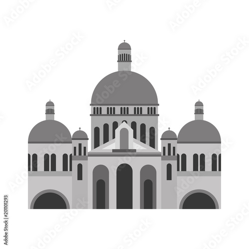 Papel de parede basilica sacred heart paris france church vector illustration