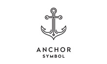 Anchor Mono Line Art Logo Design Inspiration