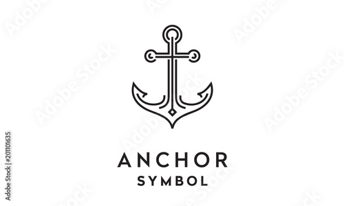 Anchor Mono Line Art logo design inspiration