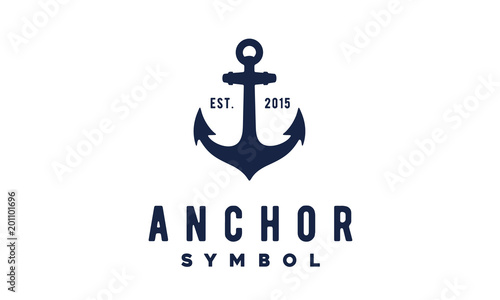 Leinwand Poster Simple Anchor Silhouette Vintage Retro logo design for boat ship navy nautical t