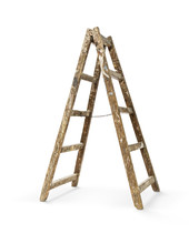 Old Wooden Ladder Isolated On ...