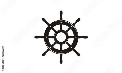 Fotografie, Obraz Steering Wheel Captain Boat Ship Yacht Compass Transport logo design inspiration