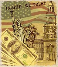 USA Vintage Poster With Landmark And Symbol Of Freedom And Democracy