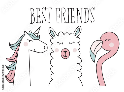 Fotografia  unicorn, llama and flamingo, best friend, illustration