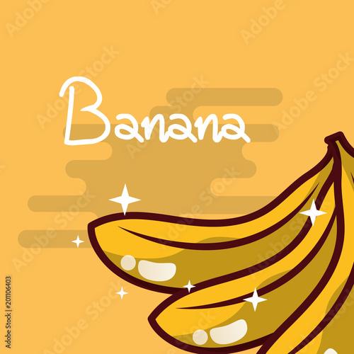 Foto op Plexiglas Restaurant banana fruit delicious shiny poster vector illustration