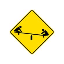 USA Traffic Road Signs. Children's Playground Ahead. Vector Illustration