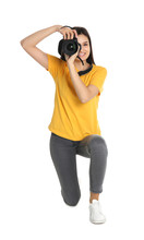 Young Female Photographer With Camera On White Background