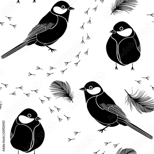Cotton fabric Seamless pattern with birds, feathers and traces on a white background. Black and white vector illustration.