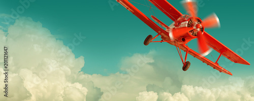 Poster Retro Red biplane flying in the cloudy sky. Retro style